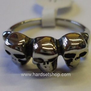 "Chirurgická ocel prsten ""3 lebky""-0"