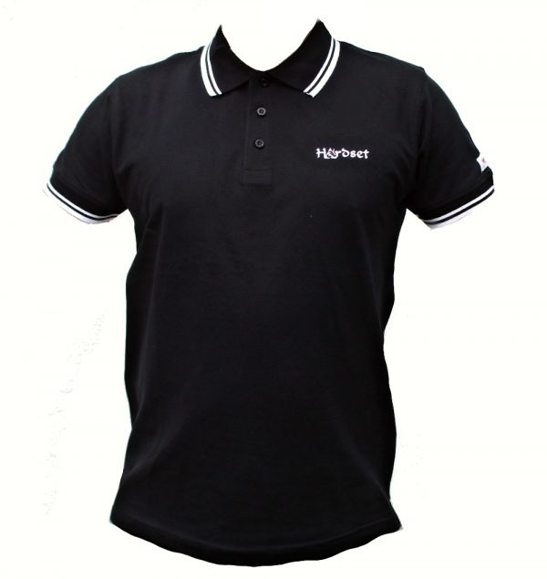 "Hardset Polokošile ""Black with white stripes""-0"