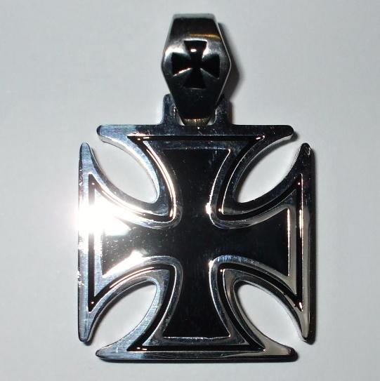 """Chirurgická ocel - přívěšek""""Válečný Kříž 3,2cm""""-0"""